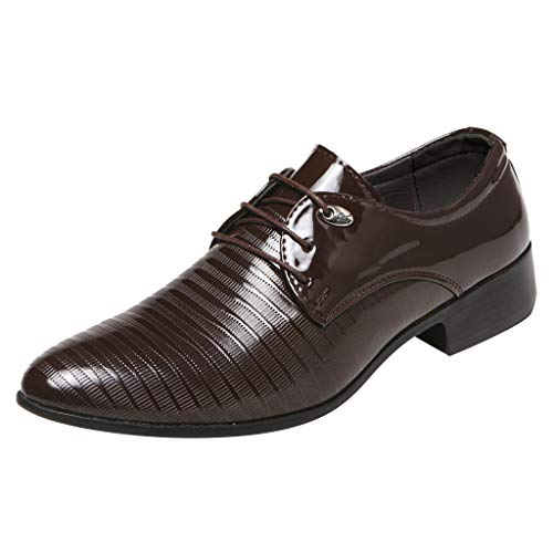 Corriee 2019 Most Wished Male Suit Shoes Men's Fashion Pointed Toe Lace Up Leather Business Shoe Footwear Brown