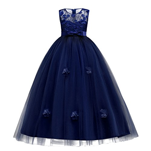 Kids Girls Tulle Princess Long Applique Flower Dress Lace Pageant Wedding Bridesmaid Floor Length Dance Evening Gowns