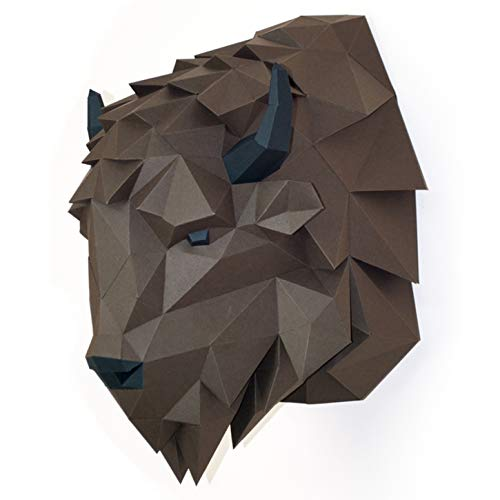 Paperraz-3D-Bison-Head-Animal-Building-Trophy-Puzzle-Low-Poly-PaperCraft-Kit-for-Adults-Teens-NO-Scissors-Needed