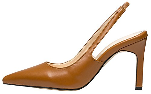 Slingback Stiletto Pumps Womens Classic Dress AnnaKastle Shoes Brown Heel FqSPfnxw4