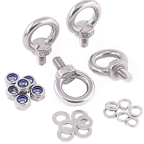 Glarks 22Pcs M10 Heavy Duty Screw Bolt, 304 Stainless Steel Male Thread Machinery Shoulder Lifting Ring Eye Bolt with Lock Nuts/Lock Washers/Flat Washers Set by Glarks