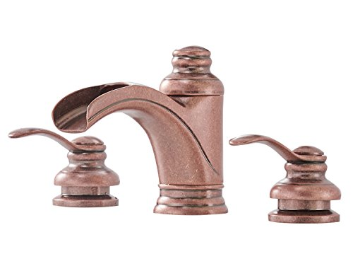 BWE Waterfall 8-16 Inch 3 Holes Two Handle Copper Widespread Bathroom Sink Faucet Commercial