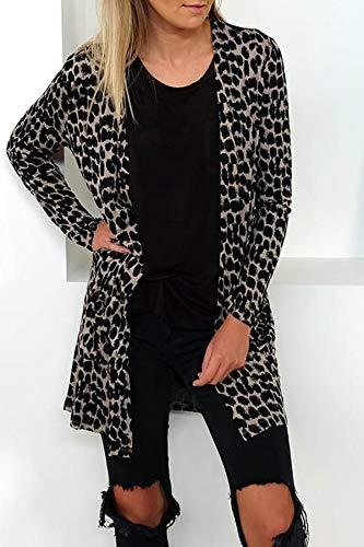 Manica Cime E Giacche Donne Leopardato Stampa Outwear Casual Autunno Cappotto Cardigan Giacca Lunga Tops Coat Primavera Moda Jungen wX0qUzd0