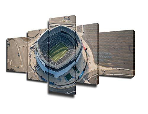 Fankiko Native American Decor Aerial View of Metlife Stadium Paintings NFL Football Pictures 5 Piece Canvas Wall Art Artwork Home Decorations for Living Room Gallery-Grapped Ready toHang(50''Wx24''H) -