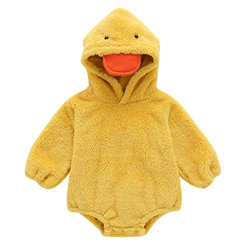 Winter Infant Cartoon Duck Plush Romper Tops Baby Boy Girl Warm Fleece Bodysuit Long Sleeve Hooded Coat Jumpsuit (Yellow, 6-9 Months)