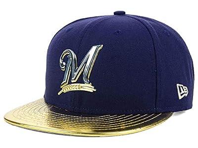 New Era Milwaukee Brewers 9Fifty Adjustable Snapback Metallic Topps Baseball Cap Hat