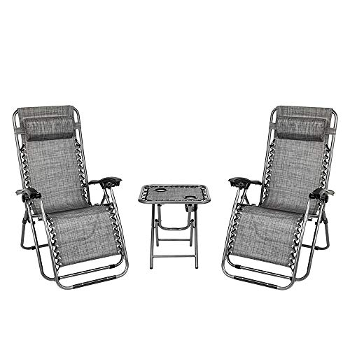 ART TO REAL 2PCS Zero Gravity Lounge Chair Grey with Portable Cup Holder Table, Indoor Outdoor Recliner Folding Chair with Headrest Support, Folding Lounge Recling for Patio Outdoor Yard Beach Pool