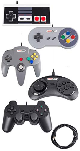 Bundle USB Controllers (5-Pack) N64 PS2 Sega Nintendo NES Gamepads for PC  RetroPie Emulator Rasberry Pi by Mario Retro