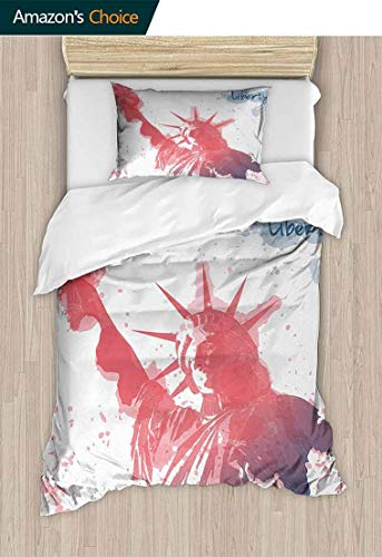 Temox 4th of July Home 2 Piece Print Quilt Set, Watercolor Lady Liberty Silhouette with Paint Splashes Independence, with 1 Pillowcase for Kids Bedding,63 W x 82 L Inches, Dark Coral Pale Blue