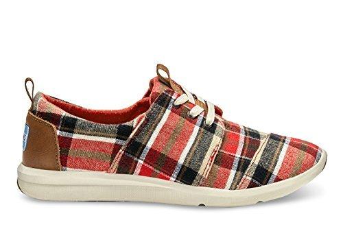 TOMS Women's Del Rey Sneaker Red/Warm Tan Plaid Sneaker 7 B (Red Plaid Sneaker)