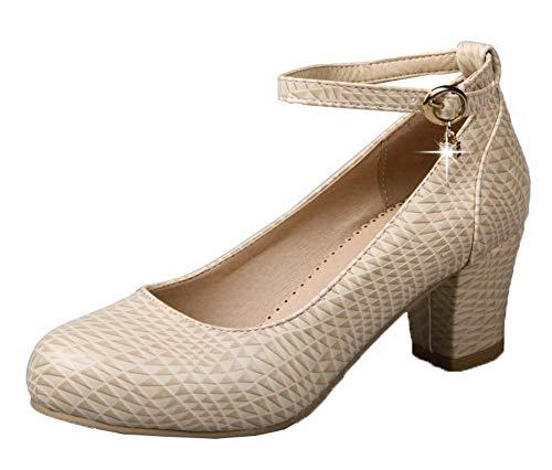 Femme Tsfdh002881 Correct À Chaussures Unie Beige Légeres Boucle Couleur Talon Aalardom Cuir Pu 6dRwqHq