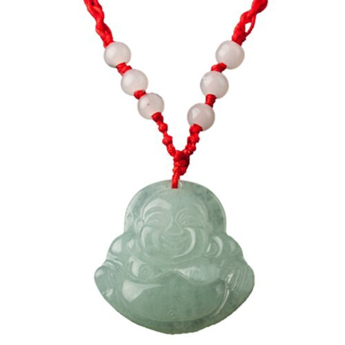 Gleader Red String Green Faux Jade Buddha Pendant Jewelry Necklace (Buddha Jewellery)