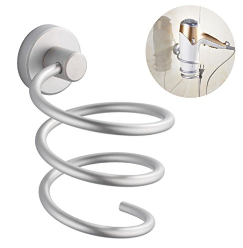 Vivian Aluminum Hair Dryer Rack Wall Mounted Bathroom Flat Spiral Stand Holder Organizer Hanger free shipping