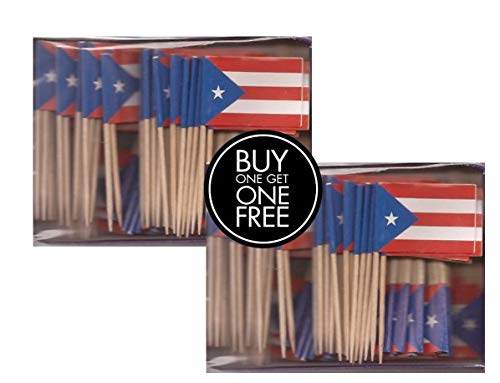 2 Boxes of Mini Puerto Rico Toothpick Flags, 200 Small Puerto Rican Flag Toothpicks or Cocktail Sticks & Picks (Puerto Rico Party Decorations)