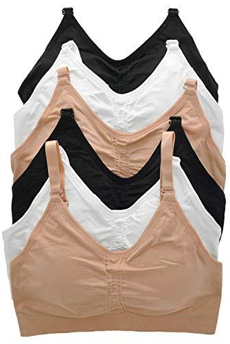 ToBeInStyle Women's 6Pk Wirefree Seamless Bra w/Adj. Closure - Basic - S/M ()