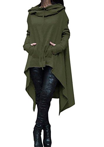 Womens Irregular Hem Double Slit Loose Long Sleeve Hooded Sweater Tunic Dress (Large, Army Green) - Womens Hooded Tunic