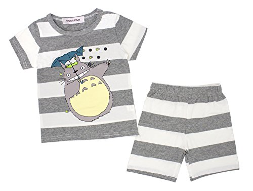 Styles I Love Baby Toddler Boys Girls 2-Piece Totoro Striped Long Sleeve Cotton Lounge Set (Grey/Short Sleeves, 80/1-2 Years) -
