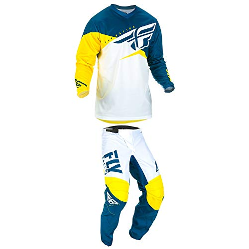 (Fly Racing 2019 F-16 Jersey and Pants Combo Youth Yellow/White/Navy Small,24)