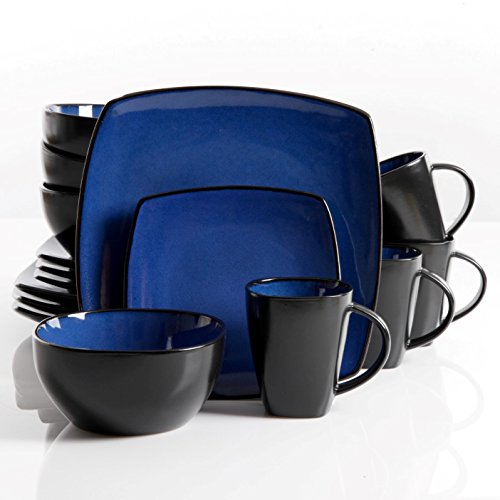 Gibson 61221.16RM Elite Soho Lounge Square 16-Piece Reactive Glaze Dinnerware Set Service of 4, Stoneware, Blue