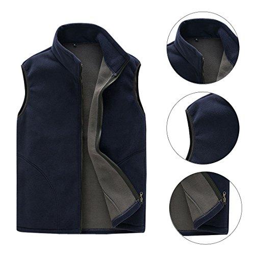 Full Zip Solid Color Fleece Vest Winter Waistcoat for Sport Gym Navy Blue L ()