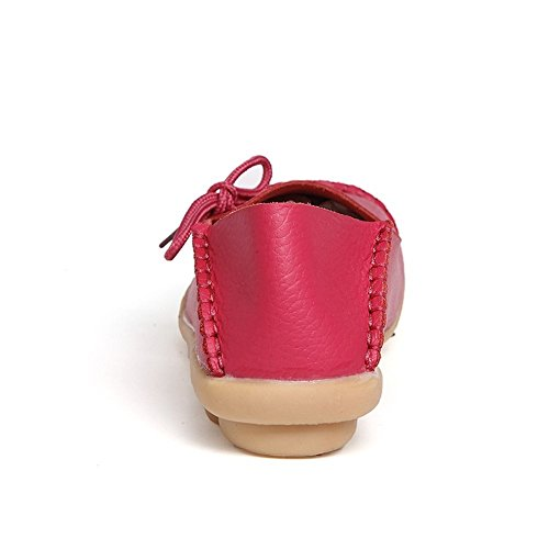 Amerikanske Trender Kvinners Lær Blonder-up Sko Loafers Tøffel Flate Pumper Slip-on Rose Rød