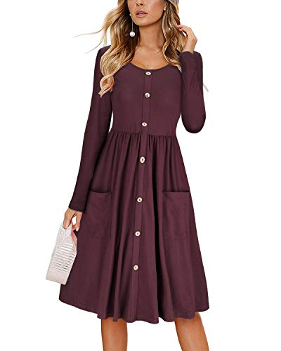 KILIG Women's Dresses Long Sleeve Casual Button Down Swing Dress with Pockets (Red-1, S)