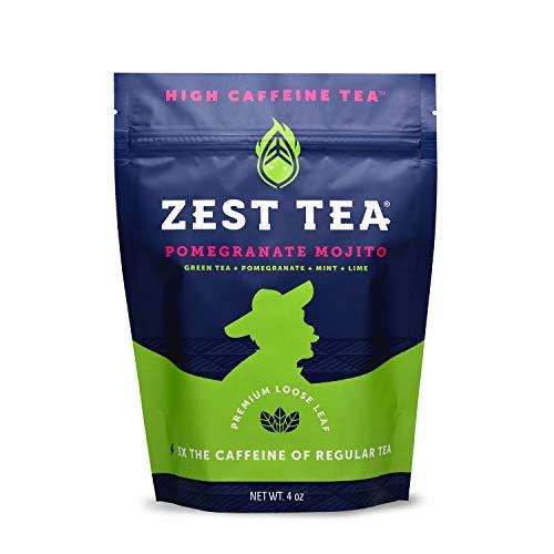 - Zest Tea Premium Energy Hot Tea, High Caffeine Blend Natural & Healthy Black Coffee Substitute, Perfect for Keto, 135 mg Caffeine per Serving, Pomegranate Mojito Green Tea, 4 Oz Loose Leaf