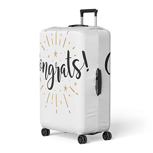 (Pinbeam Luggage Cover Congrats Beautiful Black Text Word Gold Fireworks Star Travel Suitcase Cover Protector Baggage Case Fits 18-22 inches)