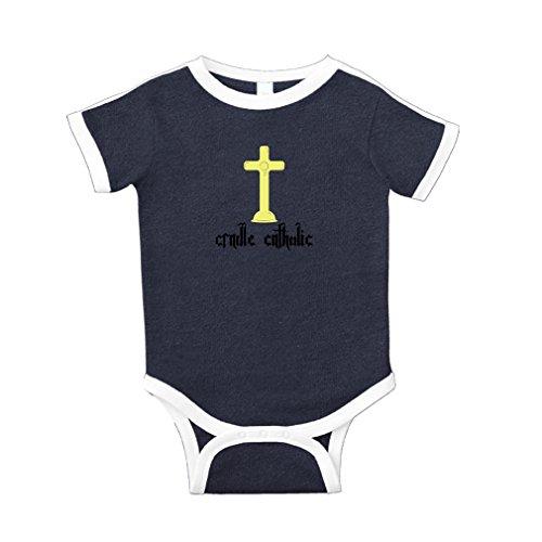 Cradle Catholic Cotton Short Sleeve Crewneck Unisex Baby Soccer Bodysuit Sports Jersey - Navy, 12 Months