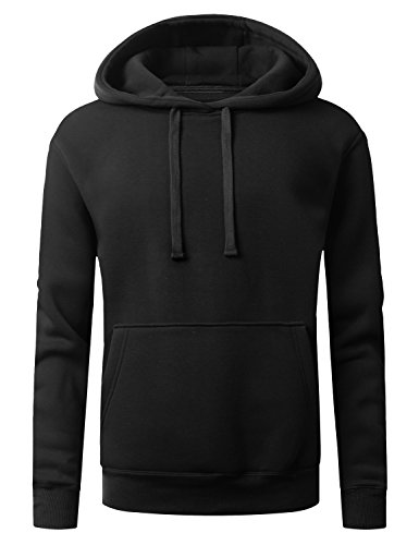 URBANCREWS Mens Hipster Hip Hop Fleece Pullover Hoodie Sweatshirt BLACK, L
