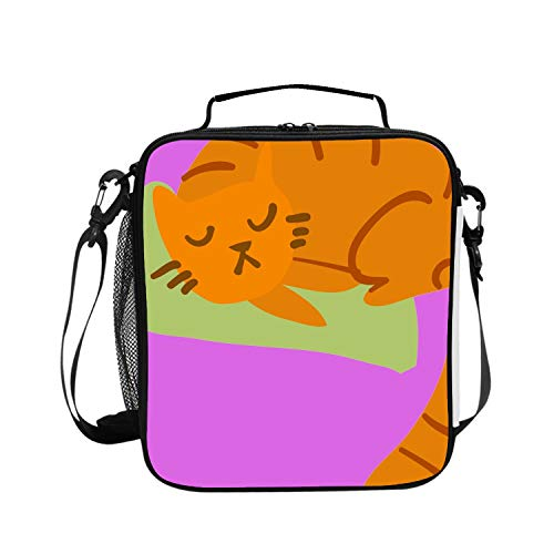 (Levendem Lunch Tote Bag for Women and Girls Kids with Adjustable Shoulder Strap Cartoon Sleeping Awesome Cat Mascot Lunchbox for Work Outdoors Picnic)