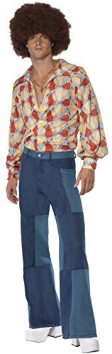 [Men's Classic 1970s Groovy Guy Shirt And Pants Outfit Costume Medium 38-40] (70s Outfits Men)