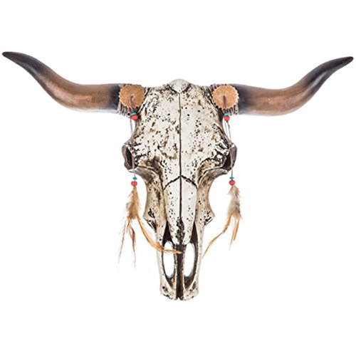 Adumly Native Rustic Steer Bull Cow Western Skull Trophy Wall Sculpture