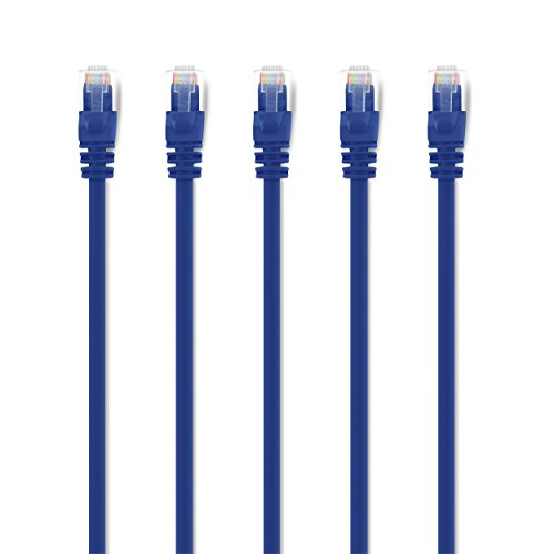 GearIT 5-Pack, Cat 6 Ethernet Cable Cat6 Snagless Patch 2 Feet - Snagless RJ45 Computer LAN Network Cord, Blue - Compatible with 5 Port Switch POE 5port Gigabit - Category 5 Patch Cord