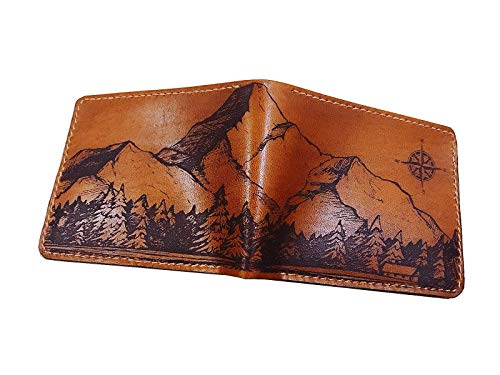 Unik4art - Personalized mountain stones landscape drawing vintage compass genuine leather handmade bifold wallet for men anniversary gift