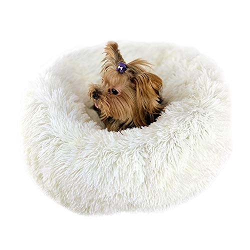Tutuba Fluffy Luxe Pet Bed, Faux Fur Non-Slip Round Donut Self-Warming Bed Cushion for Cat Small Dog Donut Dog Pet Bed Khaki