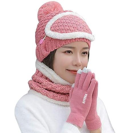 Donne Uncinetto Cappello Sciarpa e Guanto Maschera Inverno Set ... afc22887a00f