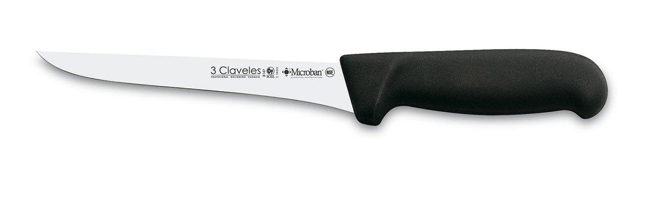 Negro 6 Acero Inoxidable 3 Claveles Cuchillo de deshuesar Proflex de 15 cm