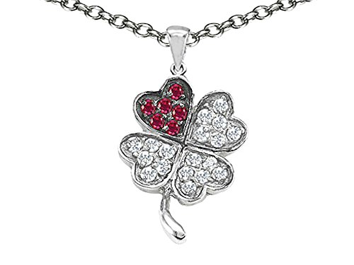 Star K Lucky Clover Pendant Necklace with Created Ruby Sterling (Ruby Clover Pendant)