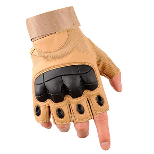 Wareken Tactical Fingerless Military Army Airsoft Paintball Bicycle Leather Protection Rubber Knuckle Half Finger Gloves for Men