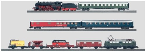 MARKLIN HO DIGITAL PREMIUM STARTER 2 TRAINS SET 29855 - DIG.DB LOCOMOTIVES W/SOUND STEAMER 4-6-2 BR-45 & ELECTRIC E-40 +ASSORT.CARS+LONG OVAL W/SWITCHES+TRANSF.&CONTROL UNIT+CATALOG. - Marklin Electric Trains