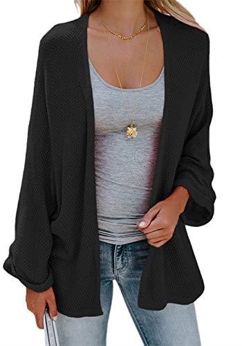 FIRENGOLI Womens Cardigan Sweaters Open Front Knit Drape Coats Loose Pleated Cuffs
