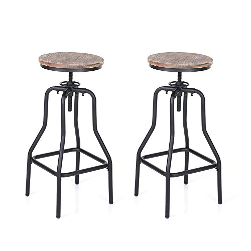 iKayaa Industrial Swivel Barstools,Metal Frame ,Height Adjustable Wood Seat, Natural Pinewood Top ,Kitchen Dining Breakfast Chair Bar Stools, Set of 2 (Breakfast Stools Wood)