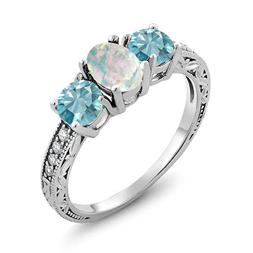 Gem Stone King 2.82 Ct Oval Cabochon White Simulated Opal Blue Zircon 925 Sterling Silver Ring (Size 7)