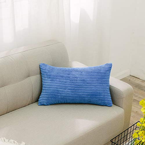 NATUS WEAVER Decorative Striped Corduroy Rectangle Cushion Cover Oblong Pillow Cover for Couch, 12