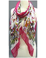 """""""Fashion Scarf""""~ White with """"Pink"""" Butterflies and Border ~ 27"""" x 70"""""""