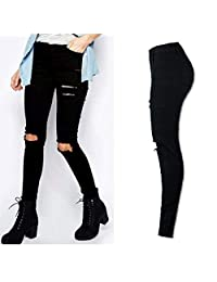 Vanvler Women Cool Ripped Knee Cut Skinny Long Jeans Pants Slim Pencil Trousers Fashion 2017 (M, Black)