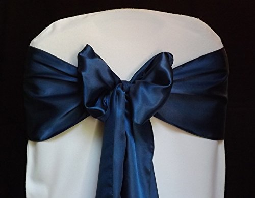 MDS Pack of 100 satin chair sashes bow sash for wedding and Events Supplies Party Decoration chair cover sash -navy Blue