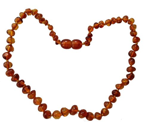 Baltic Amber Adult Necklace- Polished Cognac Color - 18 inches long - Anti-inflammatory - Natural Pain Relief for Carpel Tunnel, Arthritis, Sinus Pressure, Headaches and Migraines
