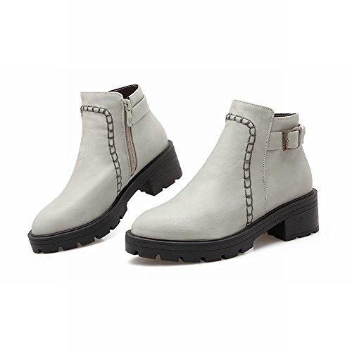 Mee Shoes Damen populär bequem runder toe Geschlossen dicker Absatz Schnalle-Dekoration Reißverschluss mit Stiefeletten Grau